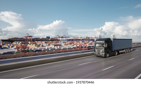 Cargo truck with container driving to the port. 3d illustration