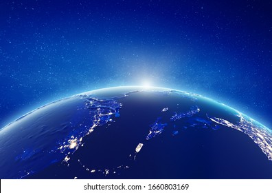 Caribbean and Central America. Elements of this image furnished by NASA. 3d rendering