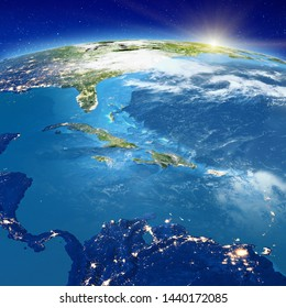 Caribbean - Cuba, Jamaica, Haiti, Cayman islands and Dominican Republic. Elements of this image furnished by NASA. 3d rendering