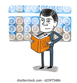 Caricature of Alan Turing, with an Enigma Machine Background.