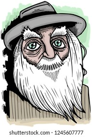 Caricature of american poet Walt Whitman.
