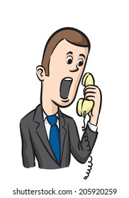 caricature businessman on the phone