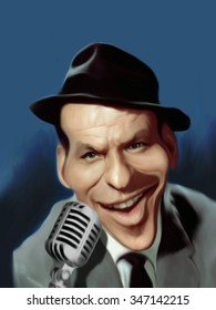 Caricature of Frank Sinatra in front of a vintage microphone.