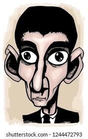 Caricature of Franz Kafka.