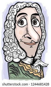 Caricature of french writer Voltaire.
