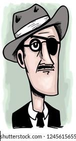 Caricature of irish writer James Joyce.