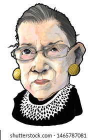 Caricature portrait of United States Supreme Court Justice, Ruth Bader Ginsburg, circa 2019, white background