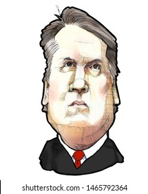 Caricature portrait of United States Supreme Court Justice, Brett Kavanaugh, circa 2019, white background