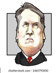 Caricature portrait of United States Supreme Court Justice, Brett Kavanaugh, circa 2019, grey background