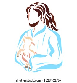 Caring Lord Jesus holds a small lamb in his arms