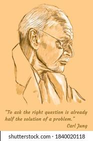 Carl Jung Poster. Motivation Inspirational Quote. Watercolor technique.