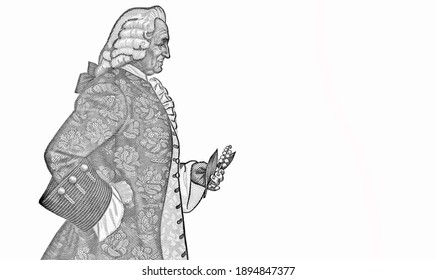 Carl Linnaeus (Carl von Linne) standing in profile holding a Twinflower (Campanula serpyllifolia), later known as Linnaea borealis. Portrait from Sweden 50 Kronor 1965-1990 Banknotes.