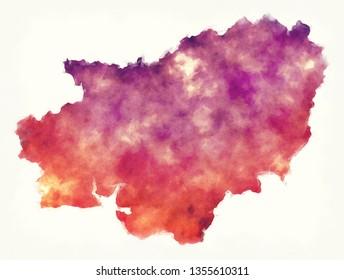 Carmarthenshire watercolor principal area map of Wales
