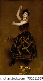 CARMENCITA, by William Merritt Chase, 1890, American painting, oil on canvas. The famous Spanish dancer made her New York debut in 1889 at Niblo's Garden. Chase painted her in his studio with flower