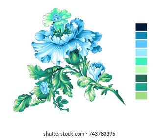 Carnation flower element, vines twig with damask leaf