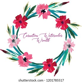 Carnation watercolor flowers