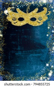 Carnival background. Carnival eye mask on blue  grunge background with golden confetti and blank space for writing text, vertical image.