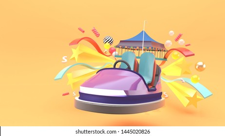Carnival car surrounded by stars and ribbons on an orange background.-3d rendering.