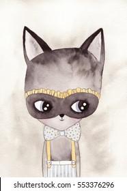 carnival cat watercolor drawing