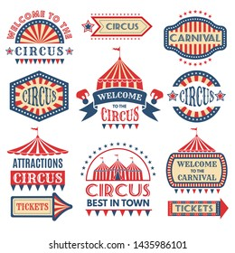 Carnival event logotypes template. badges set isolate. Illustration of circus event, banner and emblem amusement