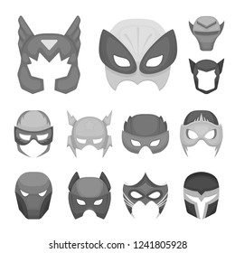 Carnival mask monochrome icons in set collection for design.Mask on the eyes and face bitmap symbol stock web illustration.