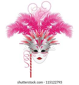Carnival mask - Venetian or Mardi Gras masquerade mask.  Isolated.