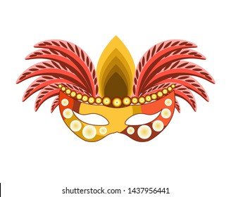 Carnival mask for Venetian masquerade or Mardi Gras festival or party.  illustration of isolated masque icon with hand made feather decorations, ornate laces and bead sequins
