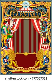 Carnival poster template. Circus vintage theme for kids birthday party invitation or post. Quality illustration.