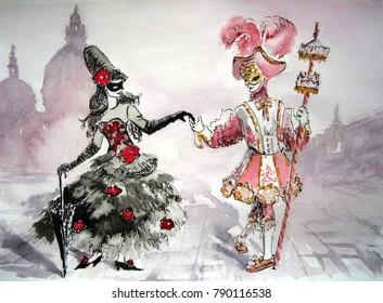 The carnival of Venice in watercolor