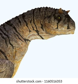 Carnotaurus sastrei Dinosaur Head 3D illustration - Carnotaurus was a carnivorous theropod dinosaur that lived in Patagonia, Argentina during the Cretaceous Period.