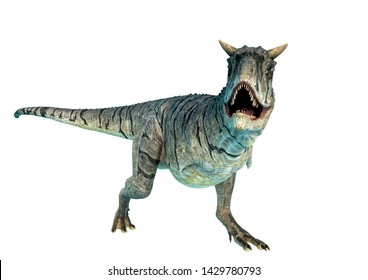 carnotaurus sastrei running in a white background. This carnotaurus sastrei in clipping path is very useful for graphic design creations, 3d illustration