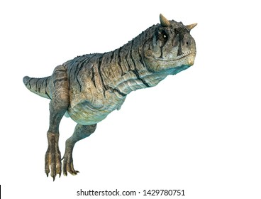 carnotaurus sastrei in a white background. This carnotaurus sastrei in clipping path is very useful for graphic design creations, 3d illustration