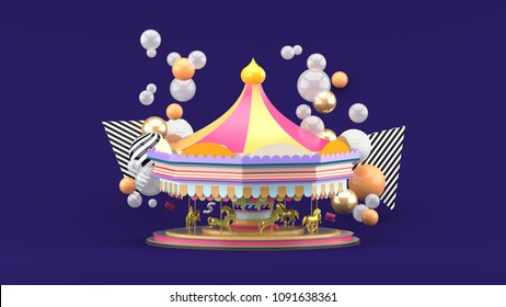Carousel among colorful balls on purple background.-3d render.