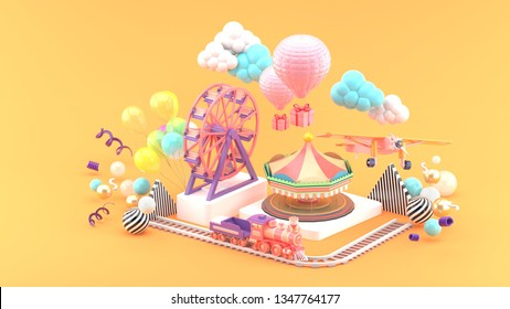 Carousel, Ferris wheel, train, balloon and plane surrounded by colorful balls on an orange background.-3d rendering.