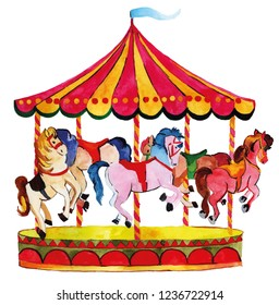 Carousel with horses colorful Watercolor Illustration amusement park concept. Carnival and holidays festival design elements.