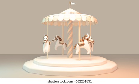 Carousel with horses. Cute merry-go-round object. Concept of childhood memory. 3d render picture.
