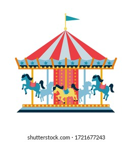 Carousel with horses or merry-go-round for children, amusement park, circus.  Flat style illustration isolated on white background. RGB