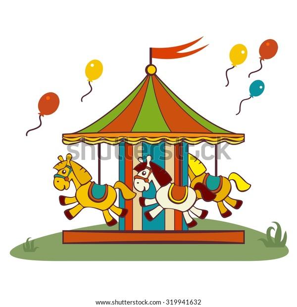 carousel horses, raster flat illustration