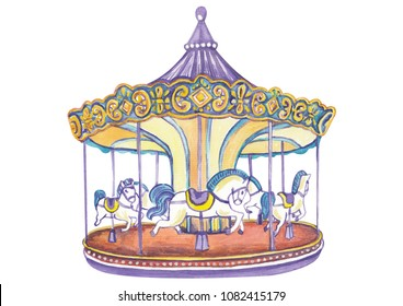 Carousel with horses watercolor hand drawn illustration