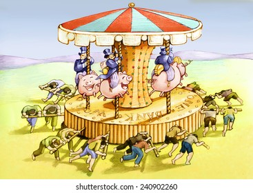 the carousel of the new economy where the poor the spin and the rich have fun political cartoon allegory af unfair econom8ic world