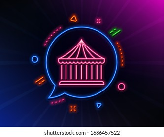Carousels line icon. Neon laser lights. Amusement park sign. Glow laser speech bubble. Neon lights chat bubble. Banner badge with carousels icon.