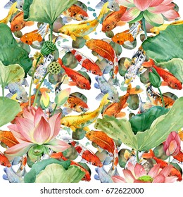 Carp koi with flower lotus seamless pattern. fish background. watercolor pond illustration.