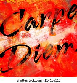 Carpe Diem on Grunge Background