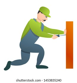 Carpenter use screwdriver icon. Cartoon of carpenter use screwdriver icon for web design isolated on white background