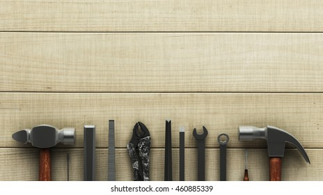 Carpentry tools on wooden surface. 3D rendering