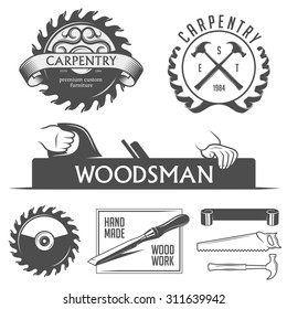 Carpentry and woodwork design elements in vintage style. Retro illustration in high resolution.
