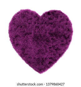 Carpet in the shape of a heart made of wool isolated background 3d rendering