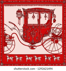 carriage drawn by horse isolated on background. For tekstil printing.