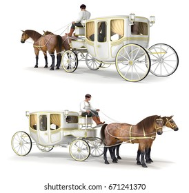 Carriage, girl in white dress, man in suit, coachman, pair of horses. Set of 3d images isolated on white.
