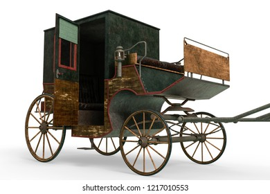 carriage in a white background will put some fun in yours creations, 3d illustration